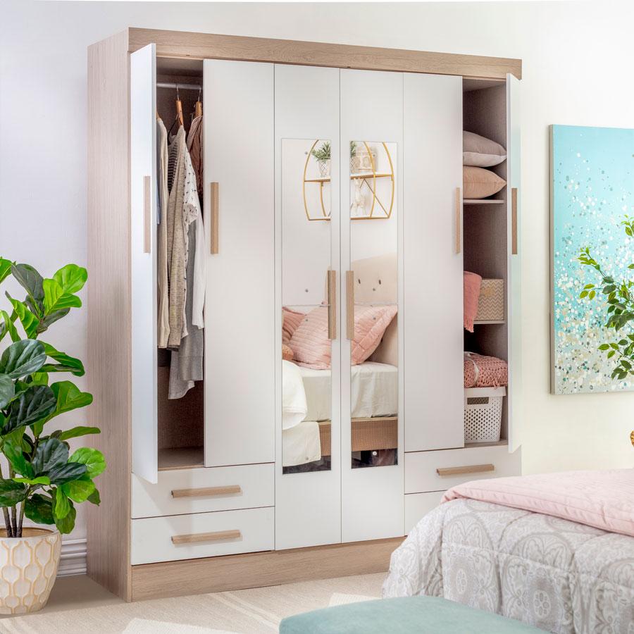 Un classique pour la chambre à coucher, avec des portes qui garderont vos affaires cachées.